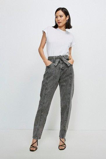 Washed black Seamed Belted Jean