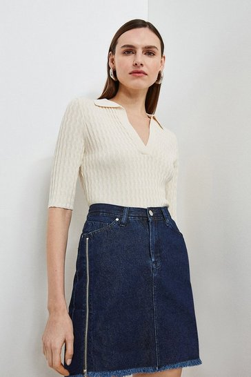 Washed indigo Zip Side Denim Mini Skirt