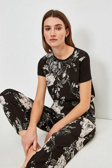 Black Floral Nightwear Jersey Back Top