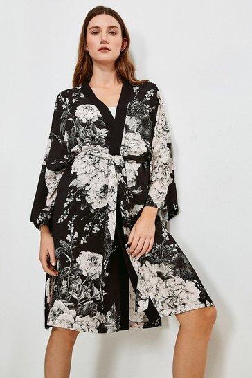 Black Floral Nightwear Wrap