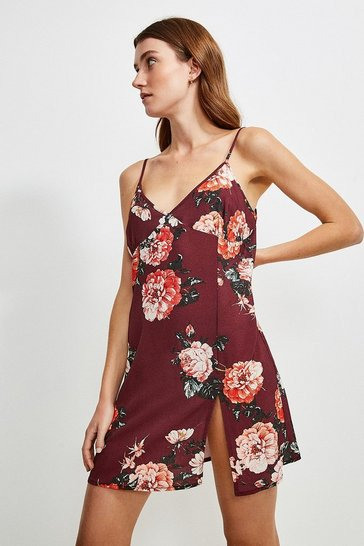 Burgundy Rose Print Strappy Nightwear Chemise