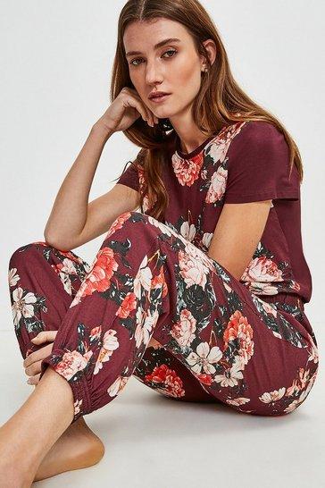 Burgundy Rose Print Cuffed Nightwear Pant