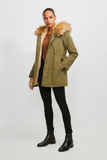 Khaki Faux Fur Hood and Trim Parka Coat