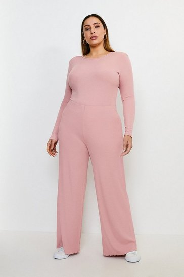 Blush Curve Lounge Rib Wide Leg  Jersey Trousers