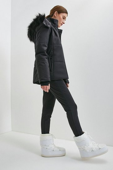 Black Colour Block Ski Jacket