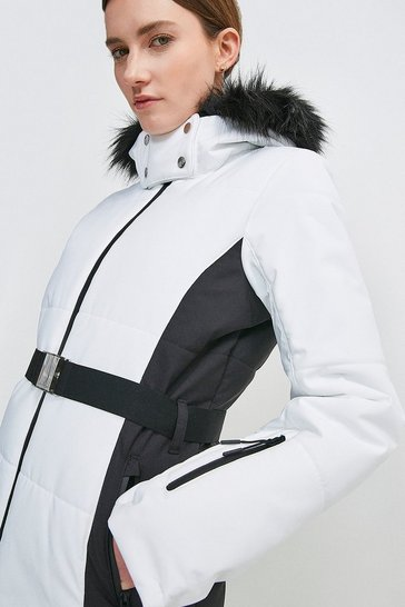 White Colour Block Ski Jacket