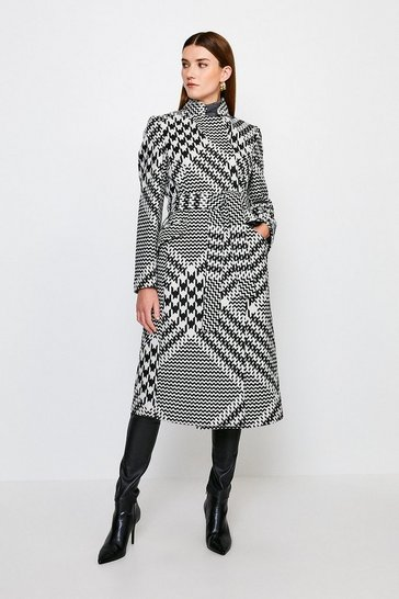 Black Check Investment Notch Coat