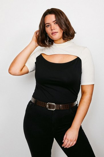 Black Curve Jersey Colour Block Peep Hole Top