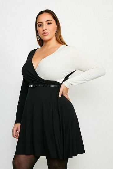 Black Curve Colour Block Viscose Jersey Wrap Dress