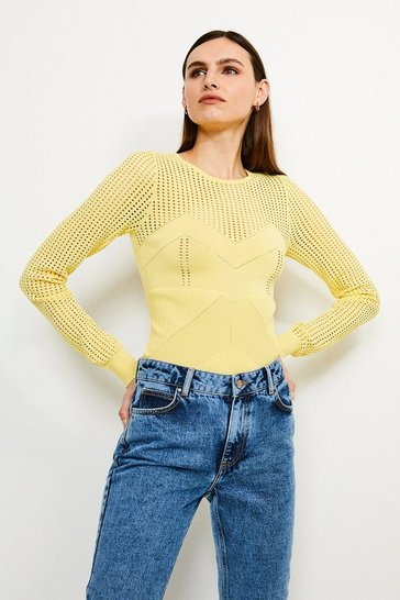 Lemon Open Work Pointelle Knit Jumper