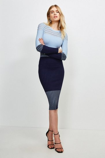 Blue Pointelle Detail Colour Block Knit Dress