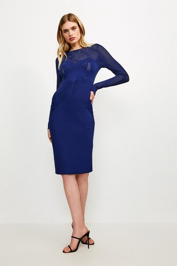 Navy Open Work Pointelle Knit Dress