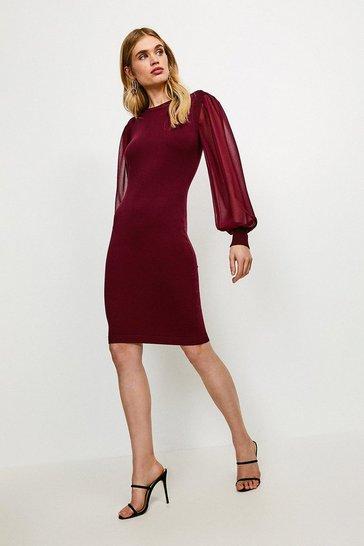 Wine Georgette Sleeve Dress