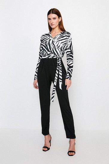 Black Zebra Wrap Jersey Jumpsuit