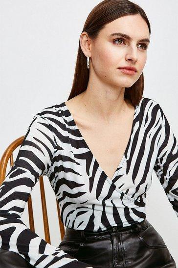 Black Zebra Wrap Jersey Bodysuit