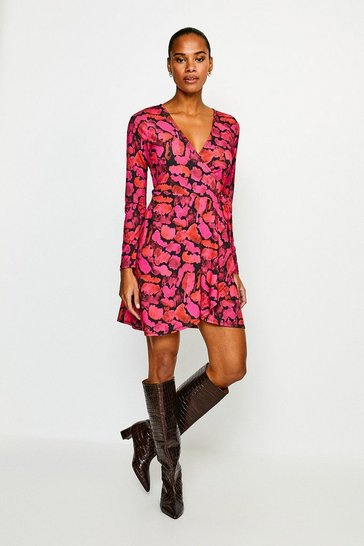 Animal Smudge Leopard Jersey Wrap Dress
