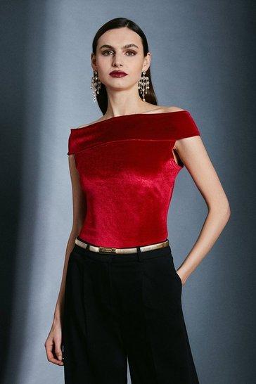 Red Velvet Bardot Jersey Top