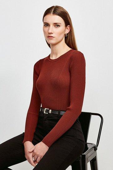 Rust Long Sleeve Knitted Rib Top
