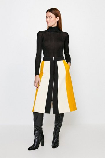 Yellow Structured Crepe Colour Block Zip Midi Skirt
