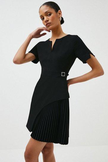 Black Tailored Military Pleat Short Sleeve Dress