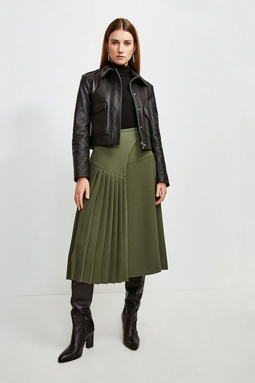 Green Military Pleated Wrap Midi Skirt
