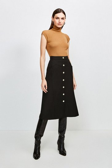 Black Clean Compact Button Through Midi Skirt