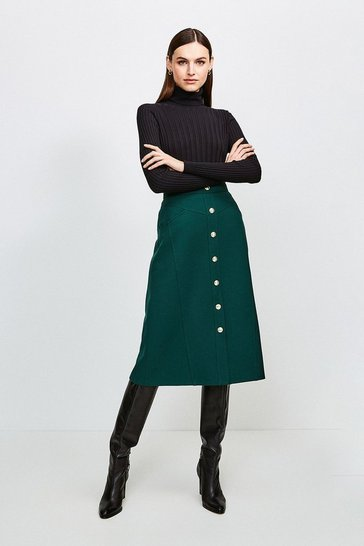 Forest Structured Crepe Button Through Midi Skirt