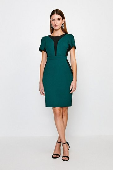 Green Structured Crepe Colourblock Short Sleeve Dress