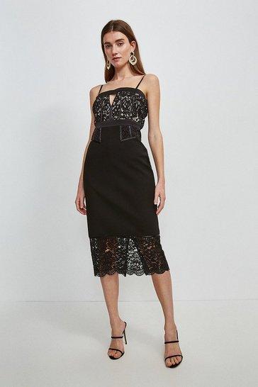 Mono Italian Lace Bodice and Hem Cami Dress