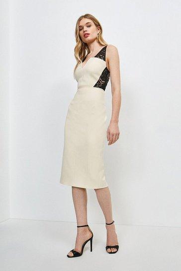 Mono Italian Lace Panelled Shift Dress