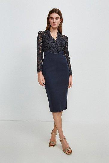 Navy Italian Lace Long Sleeve Forever Dress