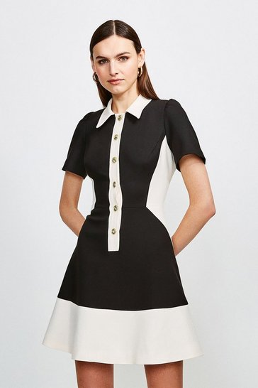 Mono Clean Compact Collared Colourblock Dress