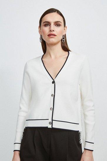 Ivory Lace Back Knit Cardigan