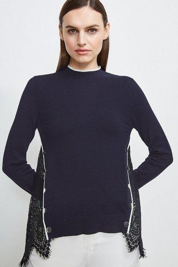 Navy Lace Back Knit Jumper