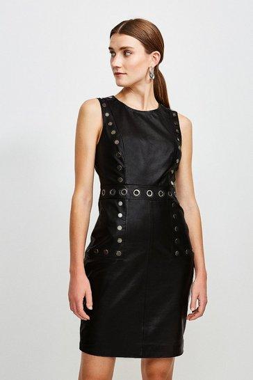 Black Eyelet Trim Leather Shift Dress