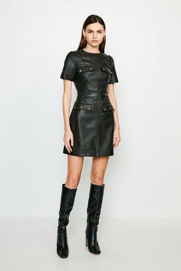 Black Popper Trim Pocket Leather Dress
