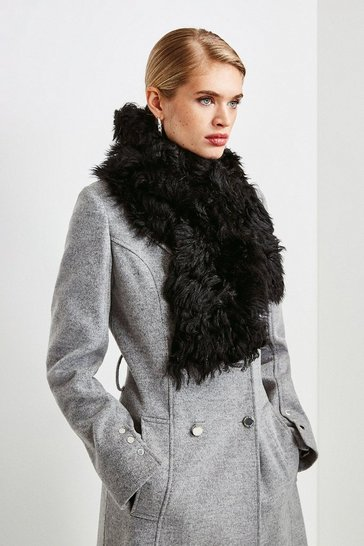 Black Shearling Scarf