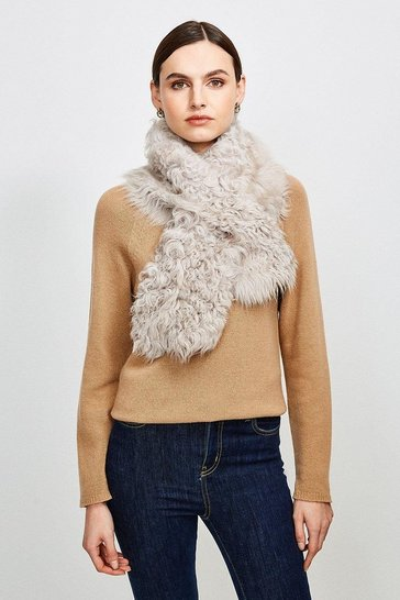 Grey Shearling Scarf