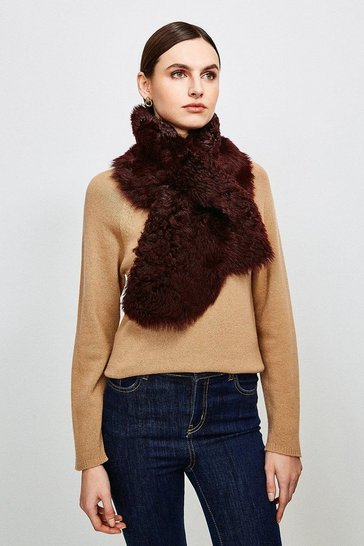 Wine Shearling Scarf