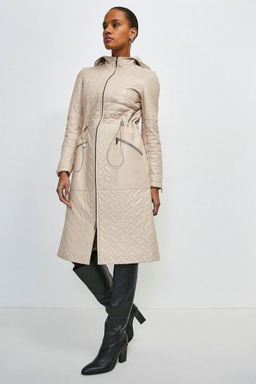 Stone Leather Multi Stitch Quilted Long Coat