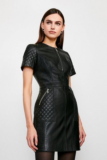 Black Leather Quilted Panelled  Zip Mini Dress