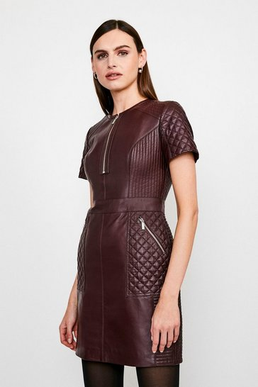 Fig Leather Quilted Panelled  Zip Mini Dress