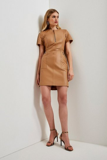 Tan Leather Quilted Panelled  Zip Mini Dress