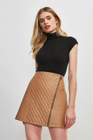Tan Leather Quilted Zip Mini Skirt