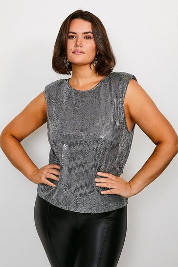 Silver Curve Sequin Shoulder Pad Jersey T-Shirt