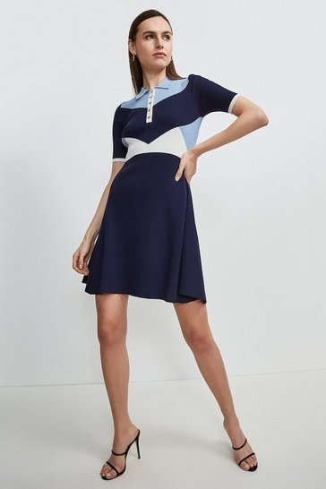 Mid blue Knitted Rib Collared Skater Dress