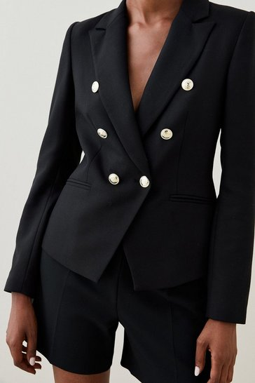 Black Tailored Button Military Blazer