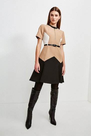 Multi Clean Compact Colourblock Flippy Belted Dress