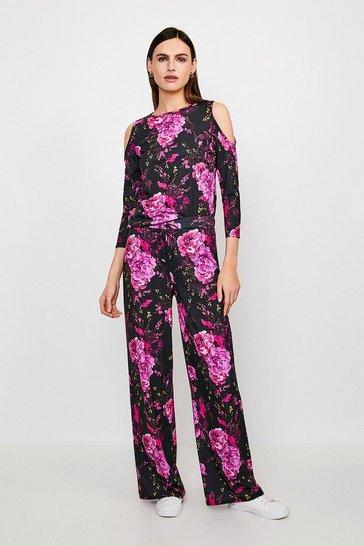 Jersey Floral Wide Leg Lounge Pant