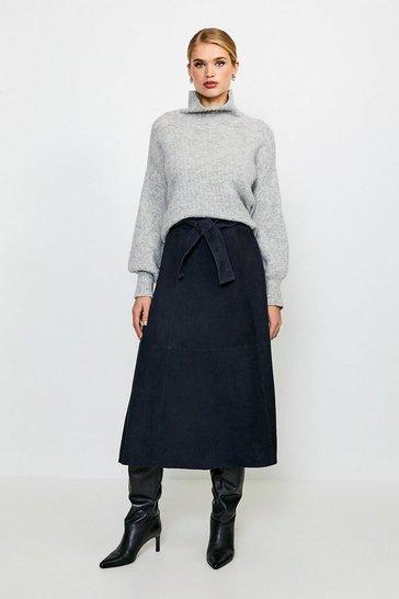 Navy Suede Tie Waist Midi Skirt